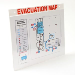 Acrylic Evacuation Map Holder with Label