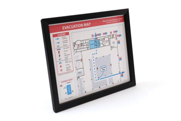 Evacuation Map Frame / Flat, Narrow Profile Black