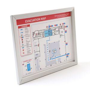 Evacuation Map Frame / Flat, Narrow Profile Silver