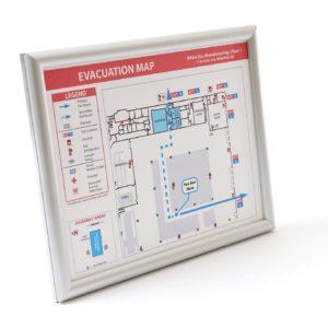 Evacuation Map Frame / Round, Narrow Profile Silver