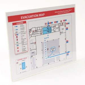 Acrylic Evacuation Map Holder / Uses Tape