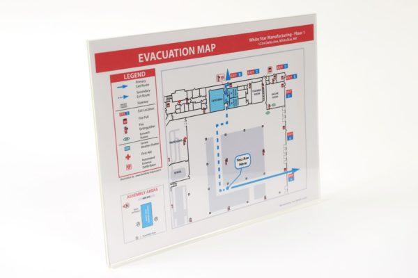 Acrylic Evacuation Map Holder / Uses Tape