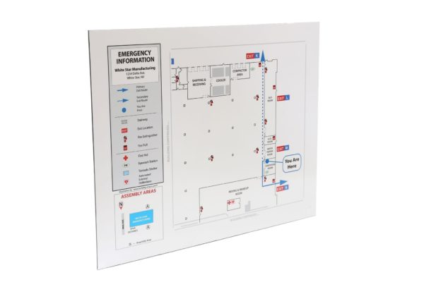 Industrial Evacuation Map Sign / for Wet, Dirty Environments / Special Order