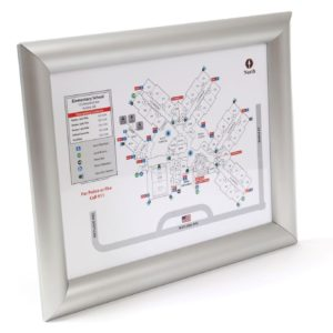 Anti-Tamper Evacuation Map Frame / Round, Standard Profile